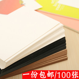 Wholesale Blank Postcards - Wholesale- 100pcs size: 14.5cmx9.5cm DIY blank postcard, color card, word card, blank hand drawn kraft paper card, double blank free ship