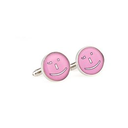 Wholesale Face Cufflinks - Funny Round Purple Pink Happy Smiling Face Cufflink Sleeve Nail Silvery Cuff Links Men Jewelry Wedding Dress Party Christmas Gift