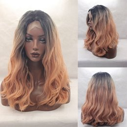 Wholesale Synthetic Clip 16 - Omber wig 1b#dark pink hair synthetic hair lace front wig glueless kinky curly free part two tone heat resistant hair clips