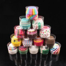 Wholesale Muffin Party Set - Wholesale- 100pc Set Paper Cake Cup Random Color Cake Decorations Muffin Baking Tools Kitchen For Wedding Birthday Party Cupcake Case Stand