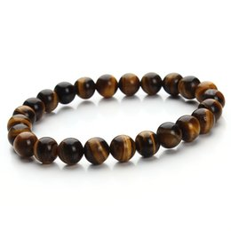 Wholesale Agate Eye Beads - New fashion men's style natural tiger eye bead bracelet tiger eye bracelets for men Mixed order accept