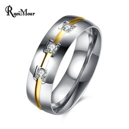 Wholesale New Finger Rings - Fashion Brand Wedding Ring Men Jewelry Stainless Steel Zirconia Anel Finger Rings Punk Silver Bague Homme Ringen New 2017