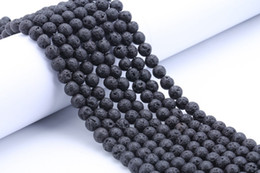 Wholesale Making Clay Beads - Fashion DIY Accessories Lava Rock Loose beads Black gem Natural stone Beads For women bracelets jewelry making wholesale Bulk Lots