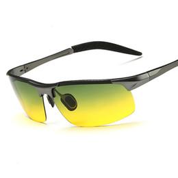 2019 al por mayor noche gafas de conducción Al por mayor- Gafas de visión nocturna de EZREAL Día que conducen gafas de sol polarizadas para hombres gafas de conducción de coches gafas de marco de aleación de noche al por mayor noche gafas de conducción baratos