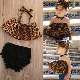 Wholesale Leopard Hot Pants - Mikrdoo Newborn Infant Baby Girl Clothes Set 2pcs Girls Summer Leopard Sleeveless Tank Top +Short Tassels Pants Kids Clothes Hot Outfits 0-5
