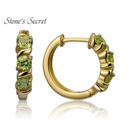 Wholesale Over 925 Sterling Silver - Peridot 18k Yellow Gold Over Sterling Silver Hoop Earrings