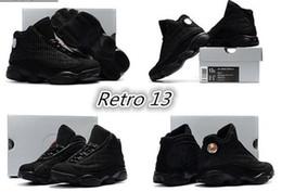 Wholesale High Quality Cat Leather - New Retro 13 OG Black Cat Kids Basketball Shoes 3M Reflect 13s Black Cat Athletics Sneakers High Quality With Shoes EU28-35