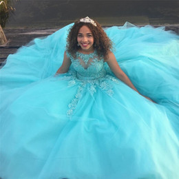 Wholesale Short Puffy Red Dresses - Light Blue Ball Gown Princess Quinceanera Dresses Cap Sleeves Appliques Vestidos de 15 anos Puffy Tulle Prom Gowns Custom Designer