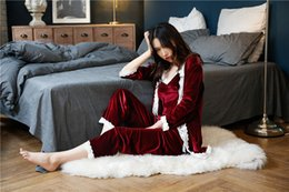 Wholesale Ladies Three Piece Pajamas - Light luxury Europe and the United States velvet sexy lace harness long sleeve pants three-piece ladies pajamas high-end home service