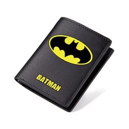 Wholesale Leather Superman Wallet - Batman Wallet Black PU Short Purse Students Carteira Bilfold Long Purse with Coin Zip Pocket Superman The Flash Wallet