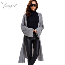 Wholesale Western Cardigan Sweaters - Wholesale-Young17 2016 autumn western Women Cardigans long High Quality pink Knitted Sweater Female black Loose Long Sweater grey Cardigan