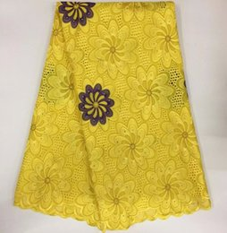Wholesale Purple Voile African Lace - (5yards lot) Gold&purple Smooth Cotton Lace Swiss Voile Lace African Lace Fabric With Stones Holes African Apparel Jan-10-2016