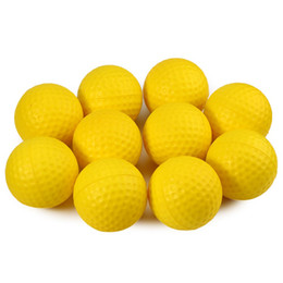 Wholesale Indoor Golf Training - Wholesale- 10PCS Soft Bright Color Golf Ball Light Indoor Outdoor Training Practice Golf Sports Elastic PU Foam Balls 3 Colors 2016 NEW