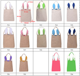 Wholesale Bags For Packing - 14styles Cotton&Linen and Jute Easter Bunny Ears Basket Bag For Easter Gift Packing Easter Handbag For Child Fine Festival Gift 255*305*100m
