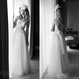 Wholesale Spagetti Strap Lace Wedding Dress - Lihi Hod Vintage Wedding Dresses 2017 Sexy Backless Spagetti Strap V Neck Beaded Lace Bodice Tulle A-line Full Length Wedding Bridal Gowns