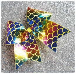 Wholesale Blue Cheer Bows - 6 colors ! Yellow Rainbow Foil Mermaid Cheer Bow Cheerleading Dance Hair Bow with elastic hair ties hairbands.8pcs\