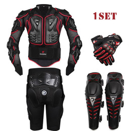 Wholesale Racing Jacket Pants - HEROBIKER Outdoor Black Motorcycle Racing Wear Protective Jacket+ Gears Short Pants+Motorcycle knee pads Protector+Moto gloves 4pcs set