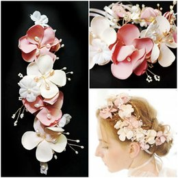 Wholesale Pink Pearl Headbands - beijia Handmade Pink Flower Wedding Headband Hair Wreath Accessories Freshwater Pearls Bridal Hair Jewelry Clip Women Headwear