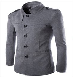 Wholesale Tunic Collar Jacket Men - Wholesale- mens suits 2016 New England temperament leisure suits collar Roman tunic cotton quality iron urban style suit jacket men