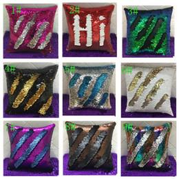 Wholesale Case Car Design - Double Sequin Pillow Case Cover Mermaid Cushion Cover Home Sofa Car Decor Bright Pillow Covers 9 design 40*40cm KKA1247