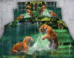 Wholesale Tiger Print Comforter Set King - Kind Size Bedding Sets 3D Cotton Four Pieces Home Supplies Duvet Cover Coverlet And Pillowcases Tiger Playing with Water Polyester Printed