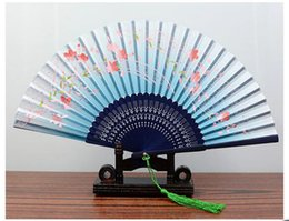 """Wholesale Frames Wholesale China - 8.27 """"(21cm) Women Hand Held Silk Folding Fans with Bamboo Frame for Gifts Chinese   Japanese Style Butterflies & Morning Glory Flowers Patt"""