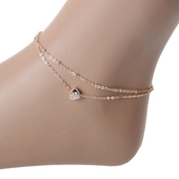 Wholesale Gold Layer Anklet - Wholesale New Charm Heart Anklets For Women Ankle Bracelet Chain Double Layers Foot Jewelry Cheville Ankle Barefoot Sandals