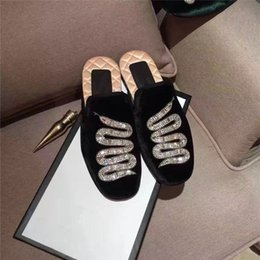Wholesale Shoes Velvet Slippers - 2017 Snake Print Women Slippers Flats Casual Shoes Velvet Summer Spring Brand Chains Driving Loafers Boats Shoes Ladies Single Shoe Hot