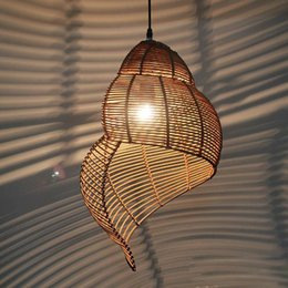 Wholesale Light Bar Shop - Pastoral Rattan Snail Children's Room Pendant Lamps Creative Dining Room Pendant Light Bar Cafe Shops Pendant Lights