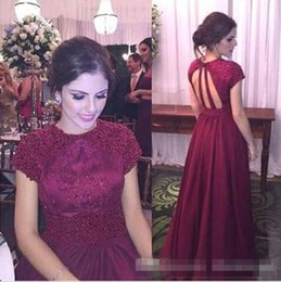 Wholesale Wine Pearls - Wine Red Long 2017 Beading Short Sleeve Sexy Backless Formal Prom Dresses Short Sleeves Robe de Soire Customize Satin Evening Event Gowns