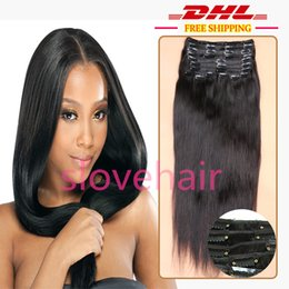 Wholesale G Human - Slove Hair Extensions 120 G Clip-in Straight 100% Human Hair Extensions 120g Human Hair Extensions Brazilian Hair Clip In Hair