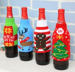 Wholesale Christmas Socks Decorate - Knitted Christmas Red Wine Beer Bottle Cover Christmas Decoration Xmas Decorating Festive Party Gift Supplies QY-003
