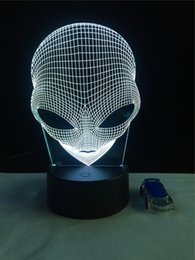 Wholesale Deco Fruits - Alien 3D Night Light Atmosphere Bedside lamp Light-emitting diode lampara Deco lighting living rooms Acrylic plates USB fixtures