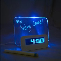 Wholesale Color Led Message - The bed alarm message board date fluorescent thermometer LED color green blue backlight