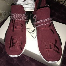 Wholesale Pharrell quot Friends and Family quot NMD HUMAN RACE Hu nmds Williams Runner Shoes Being Special Burgundy Maroon Yellow Black Red Green With Box