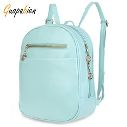 Wholesale School Girl Korea - Wholesale- Guapabien 7 Candy Color Women Back Pack Bag Japan Korea Teenage Student School Travel Bagpack Girls PU Leather Small Backpack