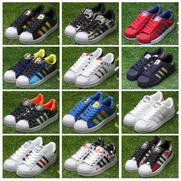 Wholesale Leather Punk Men - Adidas Originals Superstars 80S Mans & Women's Shoes Smith Classic White Skate Shoes Genuine Leather Gold Black Running Shoes