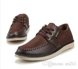 Wholesale Nice Free Shoes - Nice Brand New Mens Flats Spring REAL TCAMEL Men€s Casual Shoes Cow Split Leather Moccasin Handmade Sapatos Social Shoes DHL Free Shipp