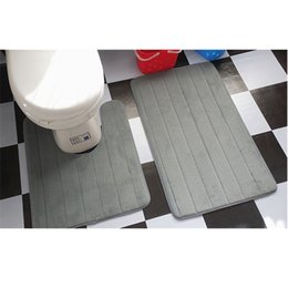 Wholesale Toilet Water - 2 Pcs Simple Bathroom Mat Set U Shape Bathroom Carpet Toilet Rugs Non-Slip WC Mat High Water Absorbent Bath Rugs tapete banheiro