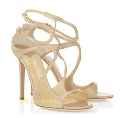 Wholesale Open Shoes Trend - 2017 Fashion Trend New Design Sequins Leather Pumps Women Dress Sandals Super Thin Heel Sexy Leather Brand Shoes Party Wedding Dress Sandals