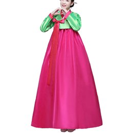Wholesale Ethnic Costumes - 2017 Newest Korean Tradition Women Hanbok Long Sleeve Female Ancient Stage Hanboks Costume Ethnic Clothing Free shipping