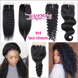 Wholesale light yaki human hair - Brazilian Virgin Hair Closure 4x4 Body Wave Loose Wave Deep Wave Straight Yaki Weaves Closure Unprocessed Beauty Human Hair Natural Color