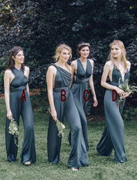 Wholesale Gown Designs For Bridesmaids - 2018 New Design Convertible Bridesmaid Jumpsuits Chiffon Backless Country Bridesmaids Dresses Pleat Maid of Honor Gowns for weddings