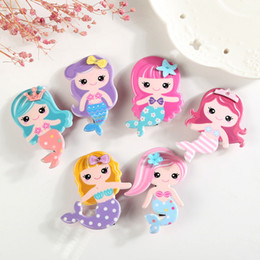 Wholesale Toddler Hair Barrettes - Pretty Gifts Mermaid Hair Clip Beauty Princess Baby Barrette Blonde Girl Toddler Hairpin Novelty Cartoon Girl Hair Pinch Grips A7400