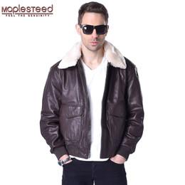 Wholesale Winter Leather Aviator Jacket - MAPLESTEED Flight Jacket Men Genuine Leather Mens Pilot Aviator Coat 100% Real Sheepskin Fur Collar Brown Black Winter Parka 176