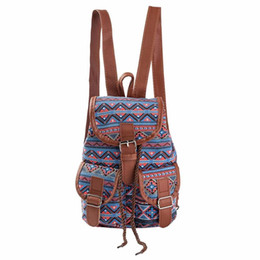 Wholesale Girls Open Strings - Wholesale- Backpack Women National Wind Printing Drawstring Backpacks Shopping Bag Travel Fashion bag Rucksacks Schoolbag for teenage girl