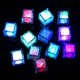 Wholesale Water Quality Sensors - High Quality Wedding Celebration LED Ice Cubes Change Water Sensor Light for Wedding Party Bar Supply 12pcs box