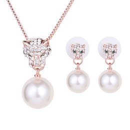 Wholesale Leopard Earrings Studs Gold - 18K Rose Gold Plated Clear Crystal Cluster Simulated Pearl Leopard Animal Pendant Necklace Stud Earrings Jewelry Sets for Women