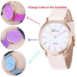 Wholesale Color Change Glass - Hot Sale New women geneva thermochromic watches Temperature Change Color Watch fashion leather watch simple ladies casual quartz wrist watch