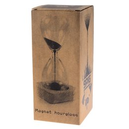 Wholesale wood magnets - Bestselling Magnet Hourglass Awaglass Hand-blown Sand Timer Desktop Decoration Magnetic Hourglass Black